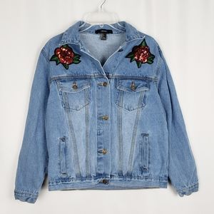 F21 denim jacket with sequin rose patches
